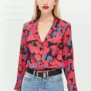 TOPSHOP Abstract Multicolor Floral Blouse
